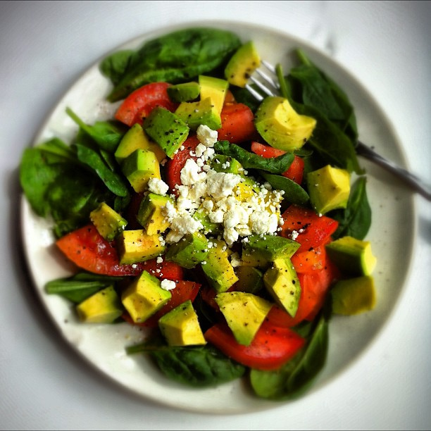 Avocado Spinach and Feta Salad
